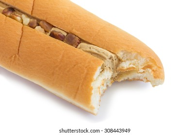 almond and coffee flavour cream filled bread on white background