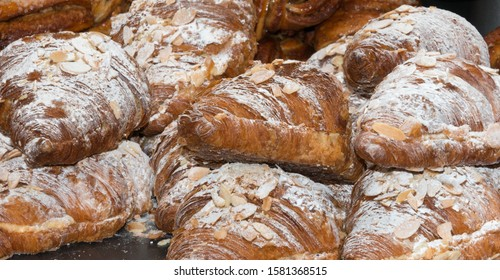 Almond Croissants for sale on a market