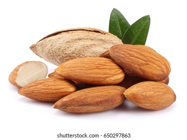 almond with green leaf isolated on white background