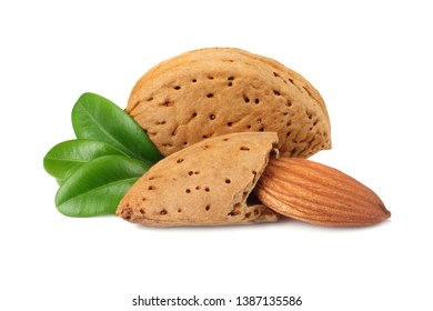 almond with green leaves isolated on white background