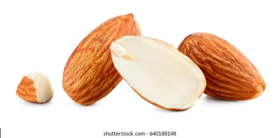 Almond. Group of almonds isolated on white background. Peeled almonds. Full depth of field.