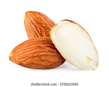 Almond isolated. Almonds on white background. whole nuts and a half. Full depth of field.