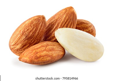 Almond isolated. Almonds on white background. Full depth of field.
