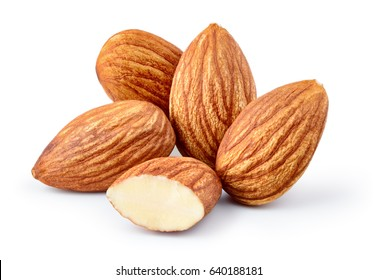 Almond isolated. Group of nuts on white background. Collection. Clipping path included. Full depth of field.
