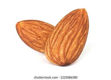 Almond isolated. Nuts on white background. Selective Focus.