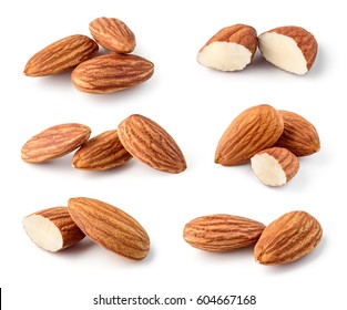 Almond isolated. Nuts on white background. Full depth of field.