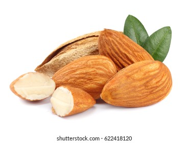 almond isolated on white background. with green leaf