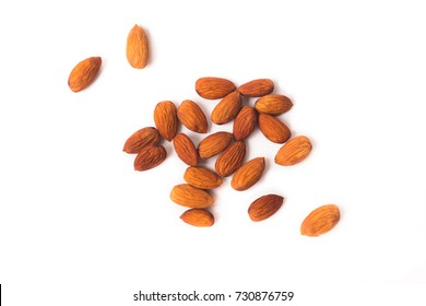 Almond isolated,Clipping path,top view white background