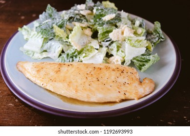 almond with lemon sole fillet with side caesar salad, a ketogenic diet meal