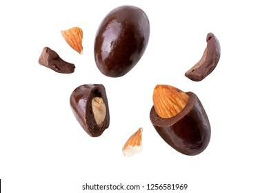 almond milk Crack blast fly and dark chocolate isolated on white
