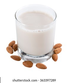 Almond Milk (selective focus) isolated on white background