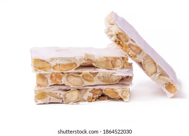 almond nougat typical christmas dessert isolated