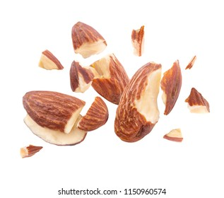 almond nut Blast side view on white isolated
