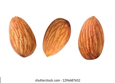 almond nut Fresh raw Closeup view  on white isolated