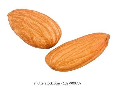 Almond nut isolated on white background, macro.