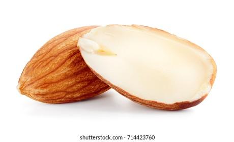 Almond. Almond nut isolated. Almond slice. Full depth of field.