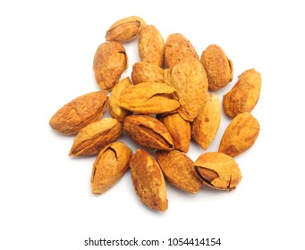 Almond nuts all isolated on white background.