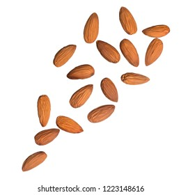 Almond nuts isolated on white background. Levity kernels.