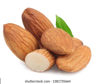 Almond nuts isolated on white background.