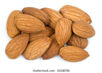 Almond nuts isolated on a white