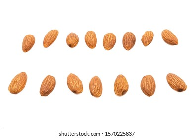 Almond nuts isolated with white background.