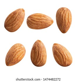 almond nuts isolated.Clipping path square size