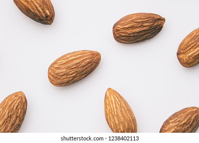 Almond, Nuts on white background.