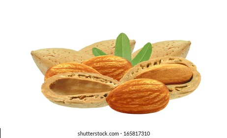 almond nuts on a white background