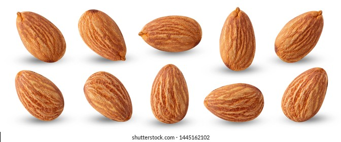almond nuts set isolated.Clipping path
