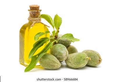 almond oil on white background