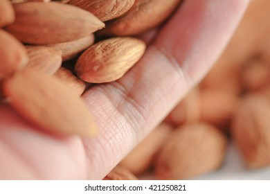 almond on hand with blurred background