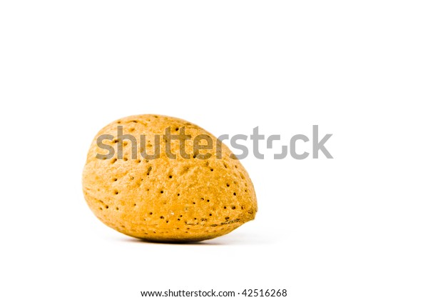 An almond on a white background