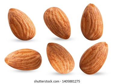 almond piece collection nuts on white isolated .Clipping path