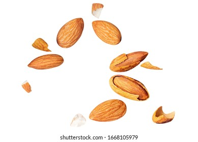 almond pieces Broken shell nut Flying with nut clipping path on white isolated . image stack High resolution image