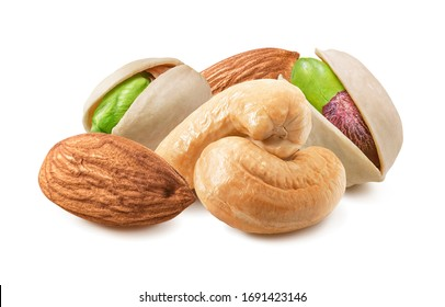 Almond, pistachio and cashew nuts mix isolated on white background. Package design element with clipping path