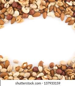 Almond, pistachio, peanut, walnut, hazelnut mix copyspace frame background