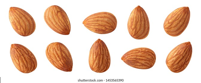 almond raw piece collection set.almond full macro shoot nuts healthy food ingredient on white isolated .Clipping path Suitable for package