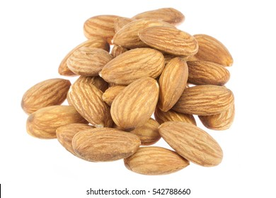 Almond seed in a wooden bowl isolated on white