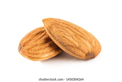 almond seeds isolated on white background, almond is the seed which has the highest protein organic food for healthy
