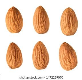Almond set isolated on white background
