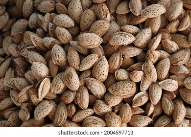 Almond in shell background. Heap of raw almond kernels.