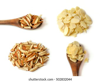 Almond sliced with almonds sticks, Almond on wooden spoon.