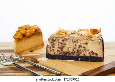 almond sliced chocolate cheesecake and macadamia caramel cheesecake
