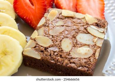Almond-Fudge Brownie with strawberry and banana slice