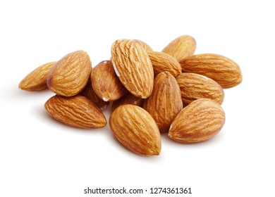 Almonds. Almond Kernels Isolated on White Background. Full Depth of Field