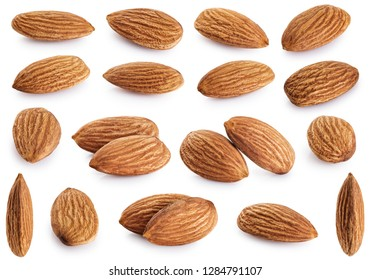 Almonds collection isolated on white background. With clipping path.
