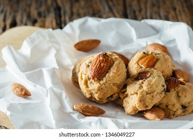 almonds cookies on the white paper