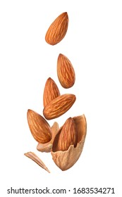 almonds in flight on a white background
