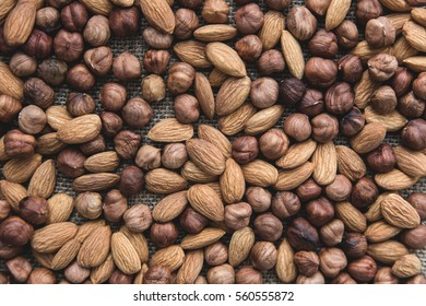 almonds and hazelnuts in full screen