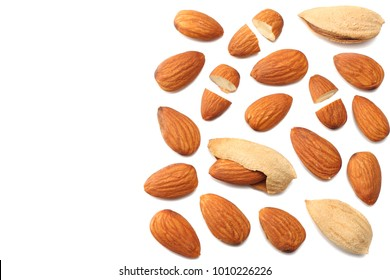 almonds isolated on white background top view